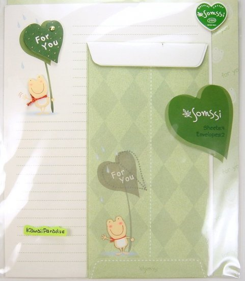 somssi FOR YOU kawaii LETTER SET hand applied embellishment frog leaf umbrella