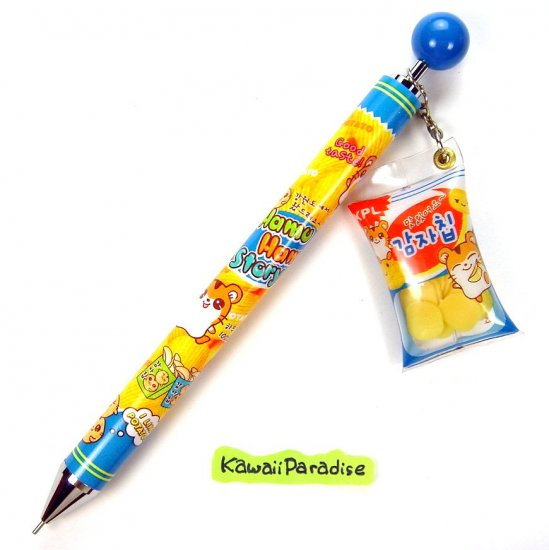 anime kawaii HAMTARO hamu hamu story 0.5 mm MECHACNIAL PENCIL with POTATO CHIP SNACK CHARM blue