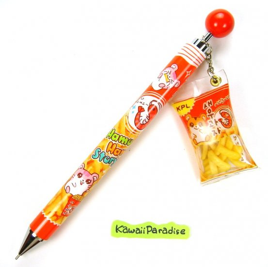 anime kawaii HAMTARO hamu hamu story 0.5 mm MECHACNIAL PENCIL with SHRIMP SNACK CHARM red