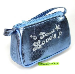 cute METALLIC COIN PURSE mini makeup pouch bag sky blue