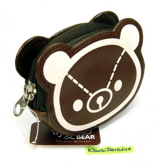 cute BEAR design COIN PURSE mini makeup pouch pleather