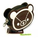 cute BEAR design COIN PURSE mini makeup pouch pleather
