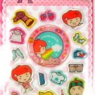 kawaii korean anime STRAWBERRY GIRL dalki glitter PUFFY STICKERS dressing up 2