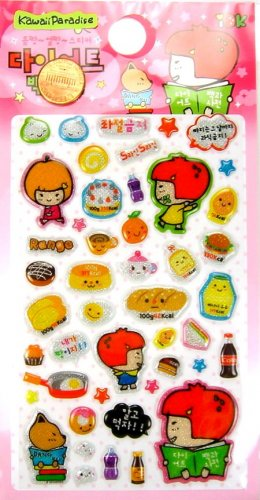 kawaii korean anime STRAWBERRY GIRL dalki glitter PUFFY STICKERS food diet bread cake soda 1