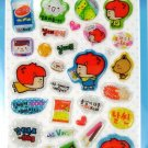 kawaii korean anime STRAWBERRY GIRL dalki glitter PUFFY STICKERS food diet snack donut 2