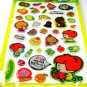 kawaii korean anime STRAWBERRY GIRL dalki glitter PUFFY STICKERS food diet fruit vegetable 3