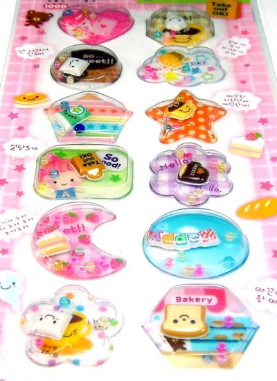 kawaii SWEET BAKERY bread cake coffee CAPSULE STICKERS beads cute cocoa