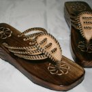 Wooden hand carved sandals size 6 1/2