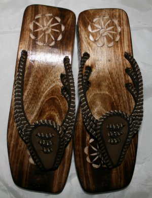 Hand carved Ladies Wooden Sandals Size 9