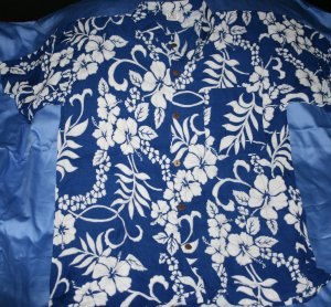 Mens blue Hawaiian shirt w/white flowers