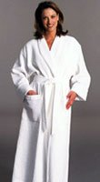 Cypress Terry-Lined Puffy Waffle Shawl Robe White--OSFA