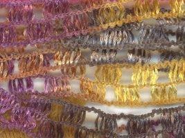 Diamond Dreams #8 ribbon yarn gold, burgandy, charocoal