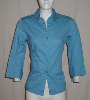 Style & Company Blue Button Down Top Sz 4