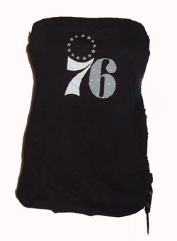 GIII Sports 76ers Black Tube Top Sz  X-Large