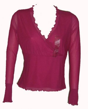 Liz Claiborne Pink V-Neck Top Sz Medium