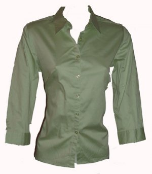 Charter Club Green Button Down Top Sz 6