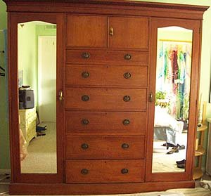 Armoire English Antique Closets Top Hat Cabinet Drawers Doors Mirrors