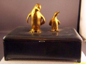Penguin Penquin Rare Art Deco Retro Pewter Wood Box