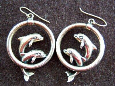 Sterling Silver Earrings Dolphins Designer Hoops