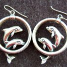 Sterling Silver Earrings Dolphins Designer Hoops