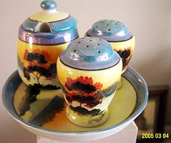 Noritake Lusterware Chikaramachi Japan Condiments Shakers Mustard Pot 5 Piece Set