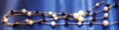 Necklace Pearls Black Glass Beads Long Gold Chain Ladies