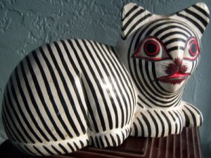 Cat Laurel Burch Style Wood Solid Black White Stripes Adorable Face
