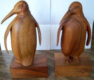 Bookends Book Ends Penguin Penquin Carved Teak Vintage