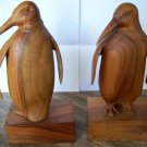 Bookends Book Ends Penguin Penquin Carved Teak Vintage