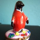 Limoges Sinclair LE Penguin Santa Trinket Box Old Mint Num 24