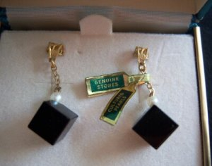 Earrings Black Onyx Cube Pearl on Chain Pierced NIB