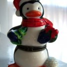 Penguin Santa Large Trinket Box Hat Scarf Tree Igloo
