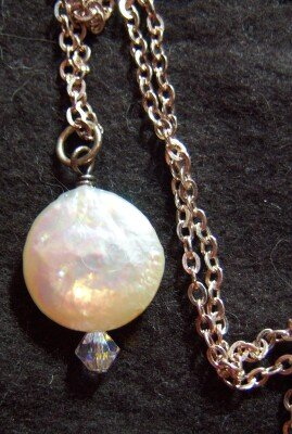 Pearl White Coin Silhouette Sterling Necklace Italy New