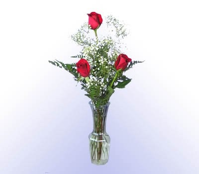 3 Red Rose Bouquet w/Vase