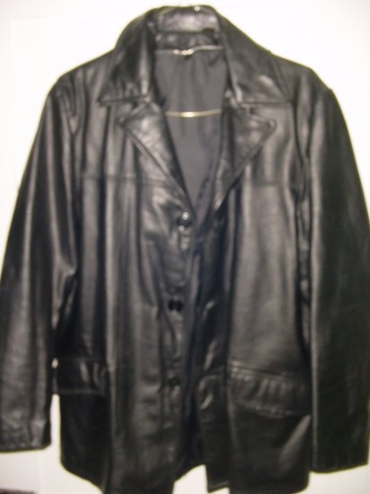 Vintage 70s Black Leather Car Coat waist Sz 40 jacket L FREE SHIPPING