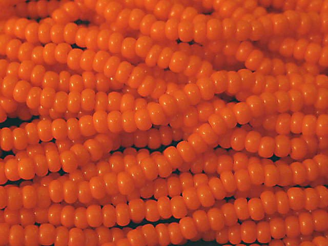 11/0 CZECH GLASS SEED BEADS OPAQUE ORANGE 1 HANK