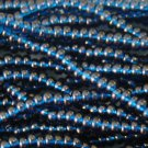 11/0 CZECH GLASS SEED BEADS TRANSPARENT MONTANA BLUE 1 HANK