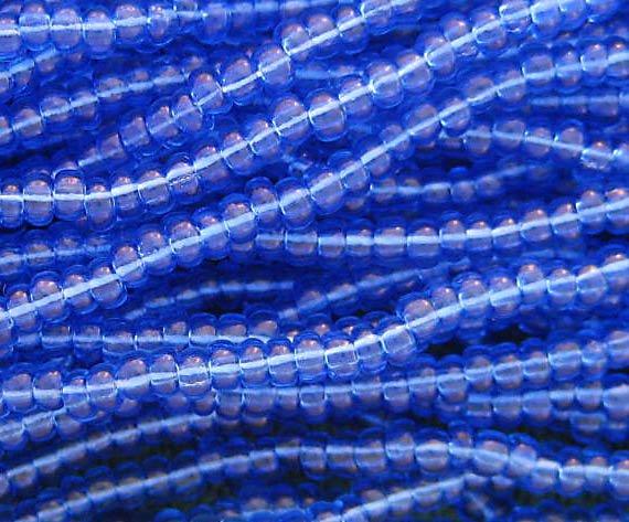 11/0 CZECH GLASS SEED BEADS TRANSPARENT SAPPHIRE 1 HANK