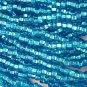 11/0 CZECH GLASS SEED BEADS SILVER LINED DARK AQUA 1 HANK
