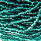 11/0 CZECH GLASS SEED BEADS SILVER LINED EMERALD 1 HANK