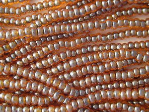 11/0 CZECH GLASS SEED BEADS COLOR LINED ORANGE/BLUE 1 HANK