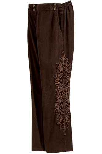 Soft Surroundings Embroidered Corduroy Pants Misses Mocha  S 6 8