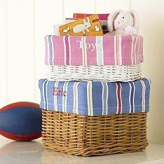 New Pottery Barn Kids Pink Striped Basket Liner Storage Medium