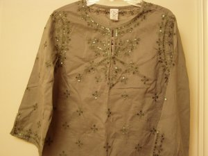 Gap Girl Caftan Tunic Tops Shirt Embroidery Sequined Long Sleeve Green  XXL 14 16