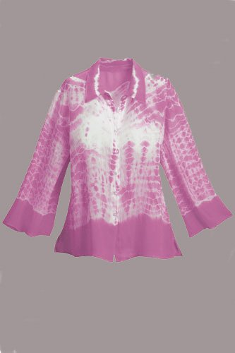 Soft Surroundings Silk Tie Dye Tee Tops Shirt Pink Misses M 8 10