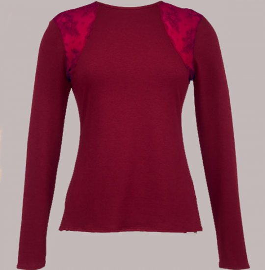 Soft Surroundings Celine Tops Shirt Misses Long Sleeves Wine L 14 16