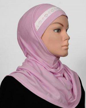 Amira Hijab 2 piece Cotton Stripe Rhinestone Lilac