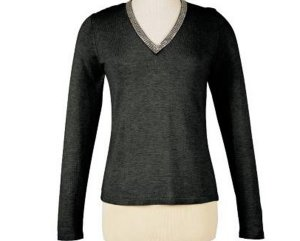 Soft Surroundings Rhinestone Silk Cashmere Sweater Misses L 14 16