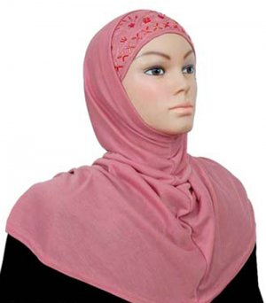 Amira Hijab 2 piece Extra Long Cotton Blend Beads Embroidery Rose