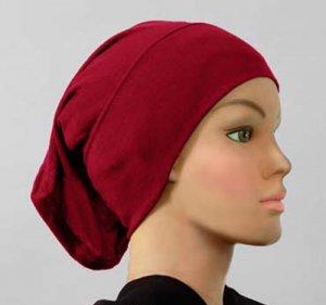 Hijab Underscarf Cap Cotton Tube Burgundy Maroon Red